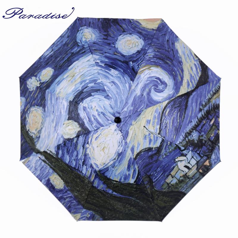 Creative Oil Painting Umbrella 3 Folding Van Gogh Painting Rain Umbrella Luxury Fancy Brand Fashion Parapluie Reine Des Neiges(China (Mainland))