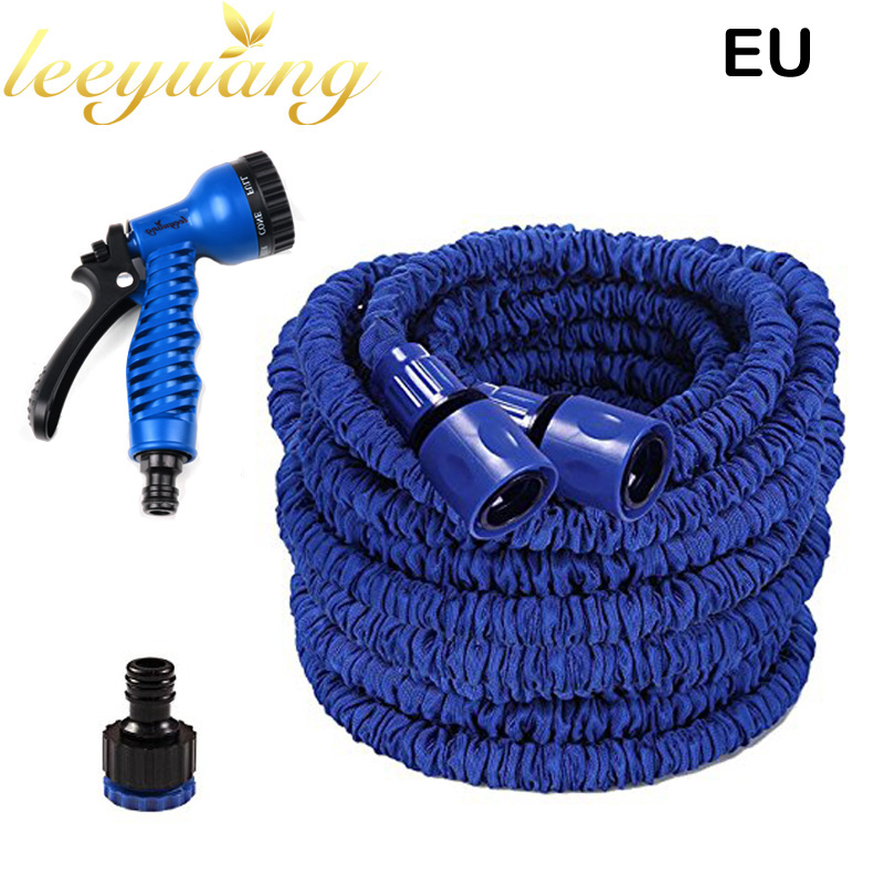 25FT Magic Flexible Garden Water Hose With 7 Functional Spray Gun+EU/US Connector Rubber Stretch Watering Hoses Car Wash Pipe(China (Mainland))