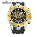 Reef Tiger RT Men Sports Quartz Watches with Chronograph and Date Big Dial Super Luminous Steel