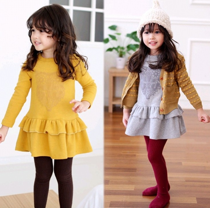 kids Girls long sleeve spring Korean version new children's clothes fashion owl print solid color dress - Online Store 923589 store