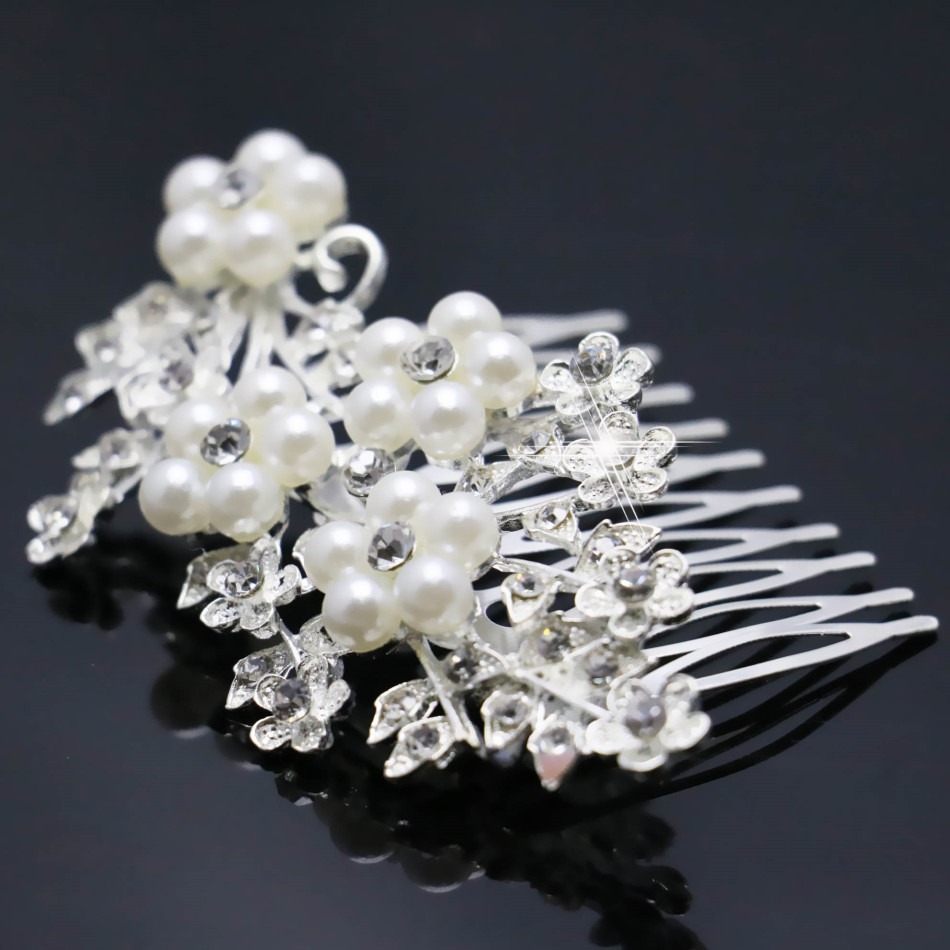 2015 New Bridal Crystal Hairpin Fashion Flower Hair Pearl Comb Hair Clip For Women Girl Wedding Decoration Jewelry Accessories(China (Mainland))