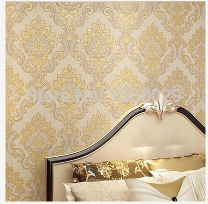 Luxury European Flock Non-woven Metallic Floral Damask Wallpaper Design Modern Vintage wall paper Textured Wallpaper Roll 10M ce(China (Mainland))