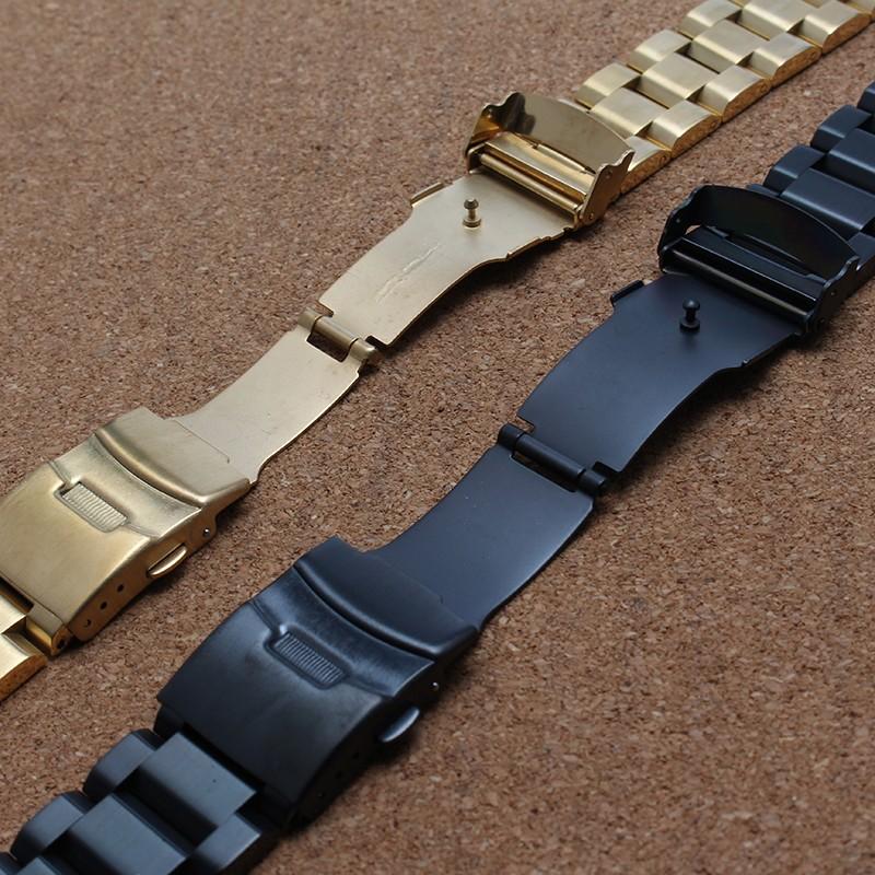 Двойной безопасности пряжка из нержавеющей стали ремешок для часов браслеты золотые часы аксессуары 18 мм 20 мм 22 мм 24 мм прочные связи продвижение