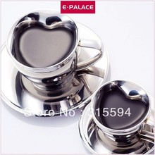 Hot selling!! High quality 70ml Double Wall Stainless Steel Coffee Cup & Saucer in heart shape G35007S-M