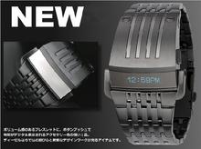 Gratis 100% Original Oled reloj de acero relojes para hombres relojes de moda binario hombre creativo chicos personalidad relojes militares