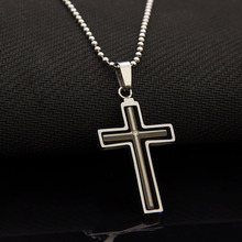 Stainless Steel Movable Cross Necklace Silver Black Crystal Rhinestone Necklaces & Pendants Men Jewelry Pendant Colar Masculino(China (Mainland))
