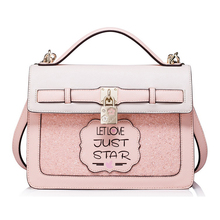 2017 Brand Design Fashion Women's Pink Leather Top Handle Bags Lady's Letter Lock Totes Lolita Style Messenger Crossbody Bags