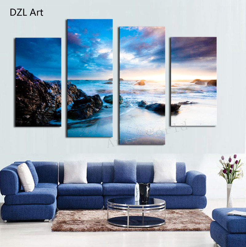 Hot Stone Sea View Wall Art Picture Home Decoration Living Room Canvas Print Painting picture printing canvas - DZL store