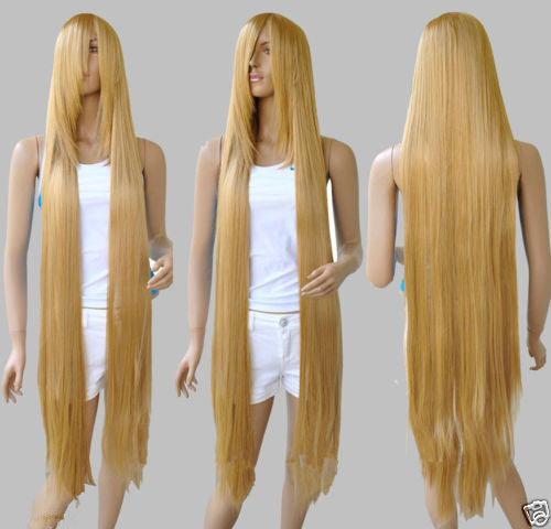 Hot heat resistant Kanekalon Party hair FREE SHIPPING&gt;&gt;51 Long Rapunzel Tangled Light Golden Blonde Straight Cosplay Wig<br><br>Aliexpress
