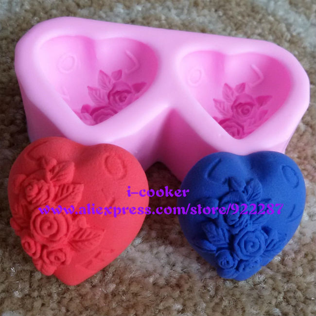Double hearts fondant styling tools silicone mould soap making formas de silicone free shipping(China (Mainland))