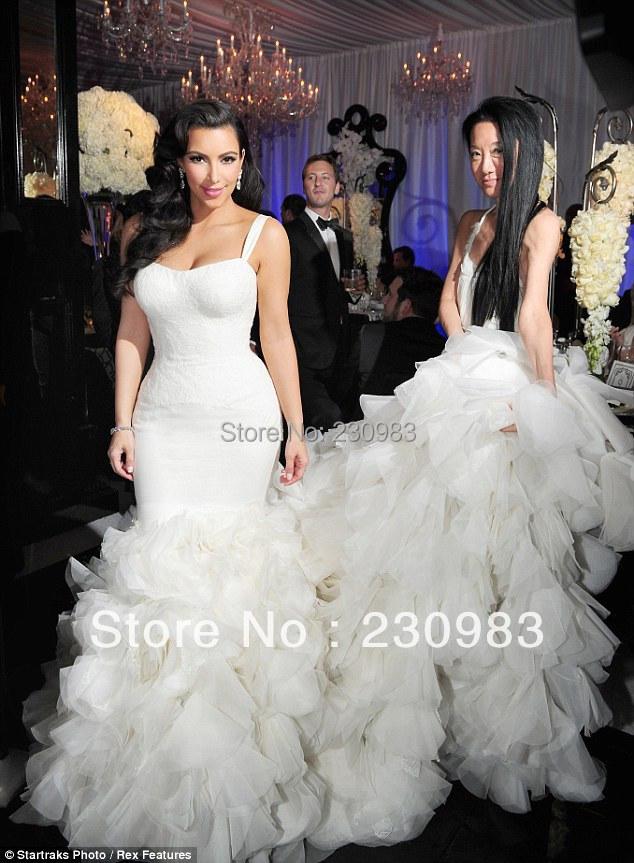 Gorgeous Spaghetti Floor Length Organza Fabric Kim Kardashian Ruffles Mermaid Wedding Dresses 2013 - Abby's Bridal Studio store