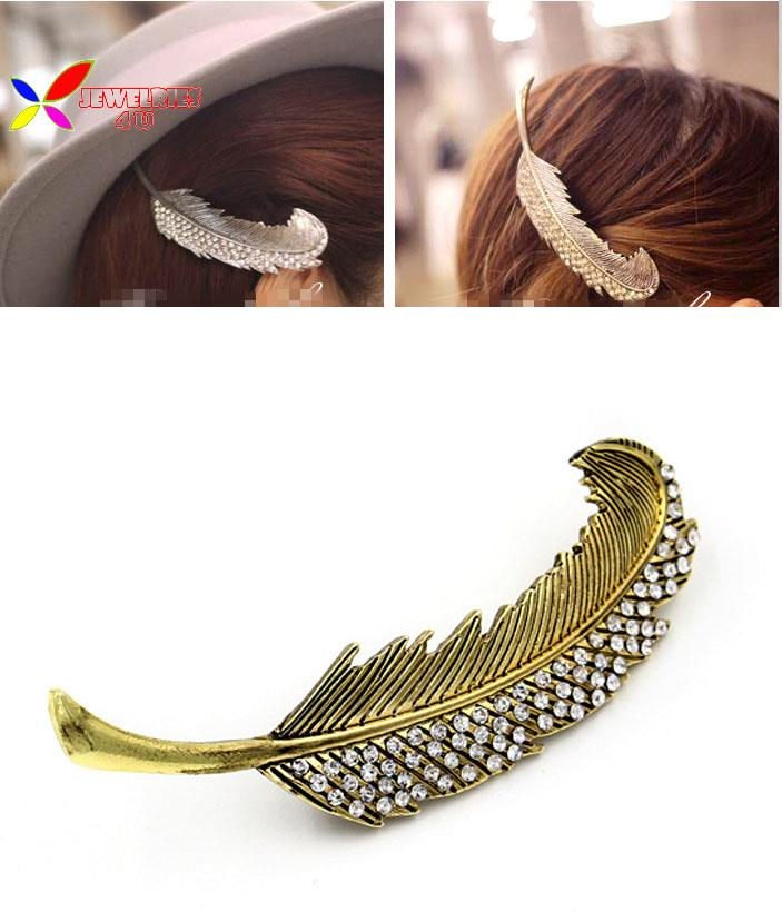 2015 new fashion women vintage anti-bronze anti-silver big leaf rhinestone Hairgrips Hair clip accessories Jewelry Pinza de pelo(China (Mainland))