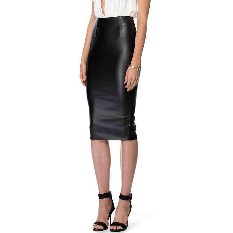 real brand high waist knee length leather