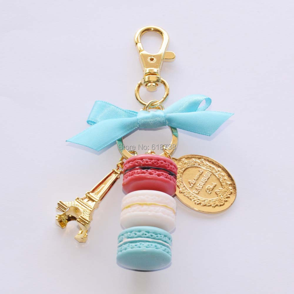 Big size laduree macaron key chain-blue.JPG