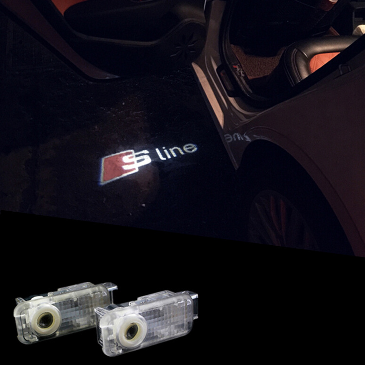 LED Car Door Welcome Light Laser Projector Logo Door Ghost Shadow Lighting LED Emblem For Audi S line A3 A4 B6 B8 A6 Q7 A5 TT(China (Mainland))