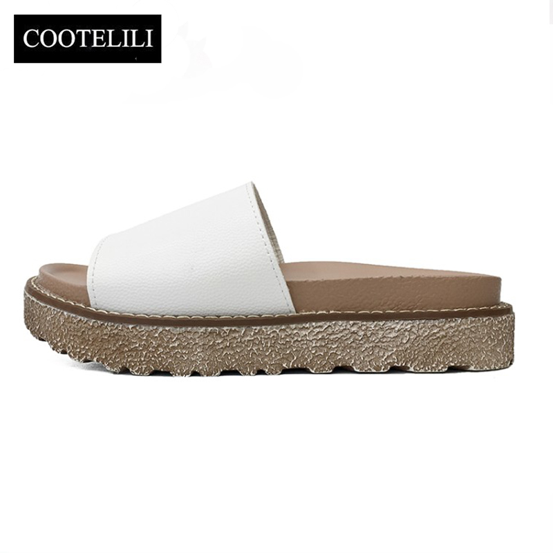 COOTELILI 35-39 Platform Flat Shoes For Women Casual Summer PU Leather Slides Female Heels Black White Ladies Slippers(China (Mainland))