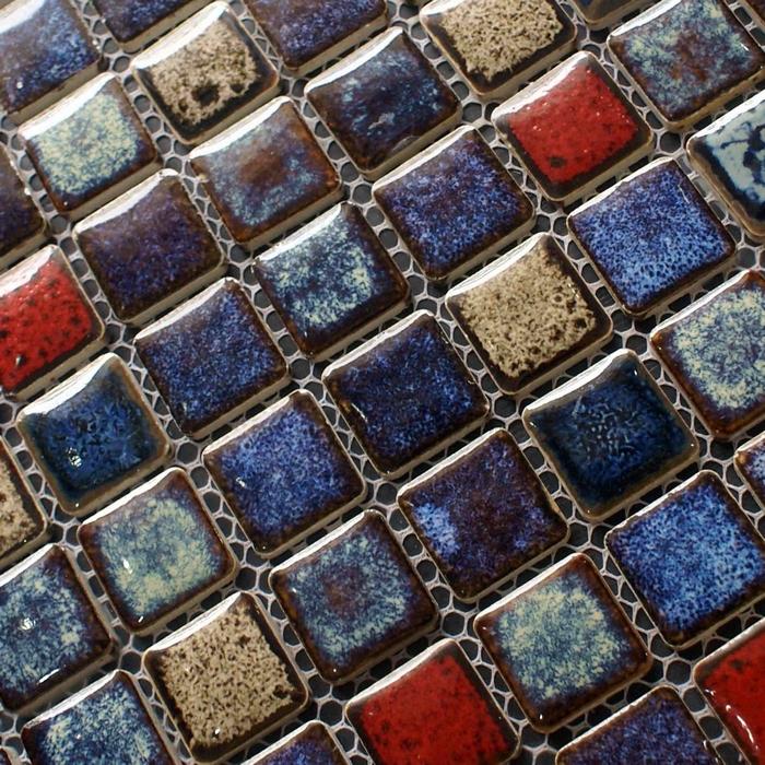 Ceramic mosaic tile backsplash