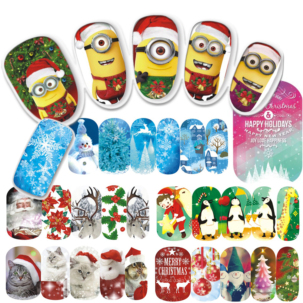 1pcs Christmas Nail Sticker Cartoon Cute Yellow Full Wraps Xmas Design Nail Art Water Decals Stickers Snow Flower Tip STZ405-414(China (Mainland))