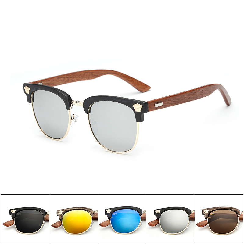 Half Frame Wood Glasses : Half Frame Retro Sunglasses Men Wood Sunglasses Leg ...