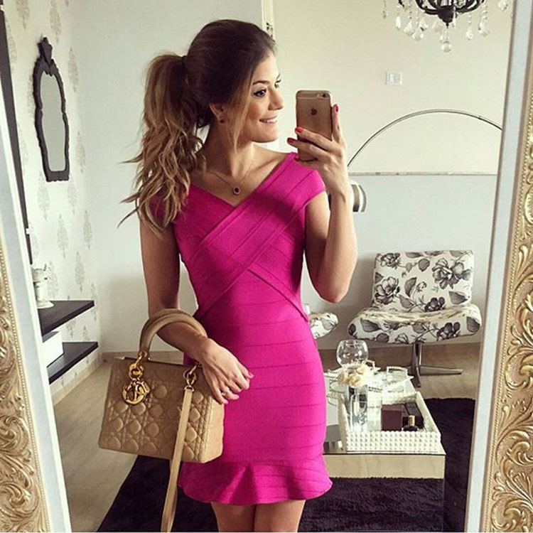 New arrival Top Quality  HL Bandage Dress Women  sexy Fishtail  flouncing dress bandage nylon bodycon party DressОдежда и ак�е��уары<br><br><br>Aliexpress
