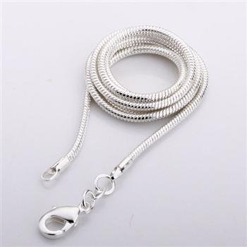 Free Shipping 925 Sterling Silver Single chain 2MM snake chain 24 inch 925 Sterling Silver Wholesale