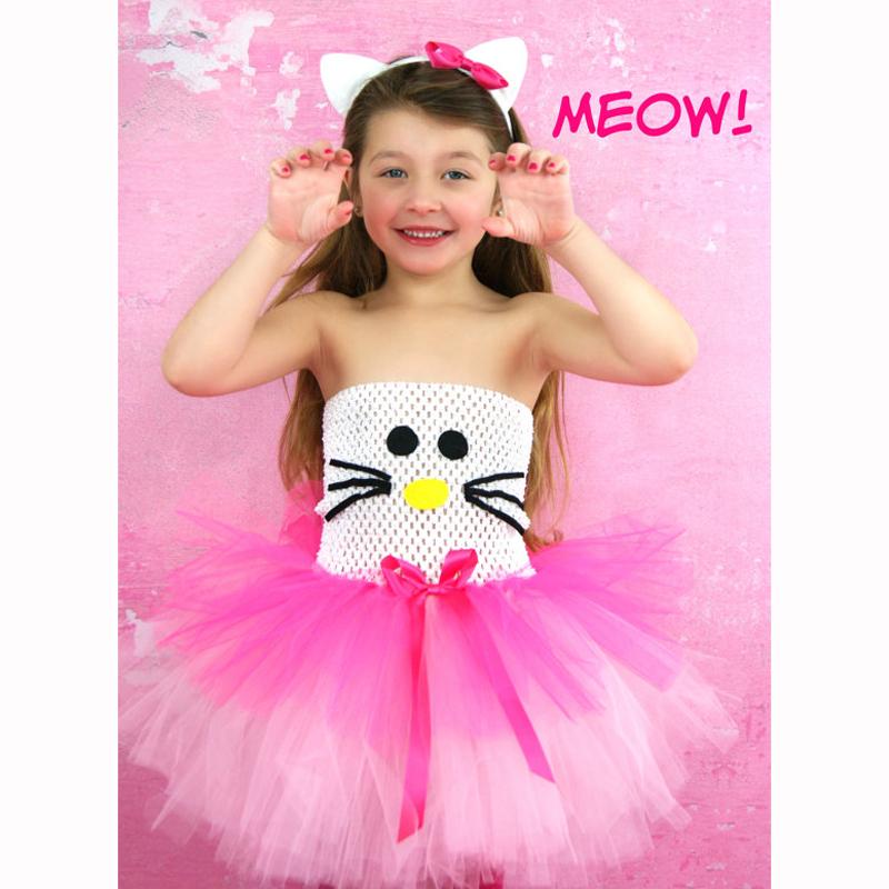 White and Hot Pink Girl Kitty Design Costume Tutu Dress Children Clothing Summer Kids Girl Party Halloween Costume Cartoon Dress(China (Mainland))