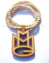 HIP HOP MMG Pendant Wood P LETTER Rosary Bead Good Wood Necklaces Fast Shipping(China (Mainland))