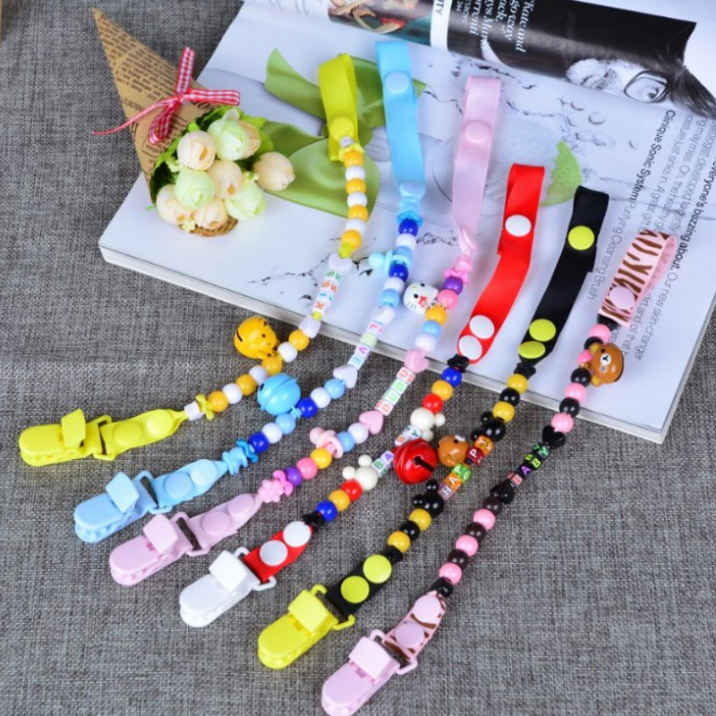 Round Beads Pacifier Chain Fashion Plastic Pacifier Clips For dummy clip BPA Free Nipple Clamps pacifier holder Clip For Nipples(China (Mainland))