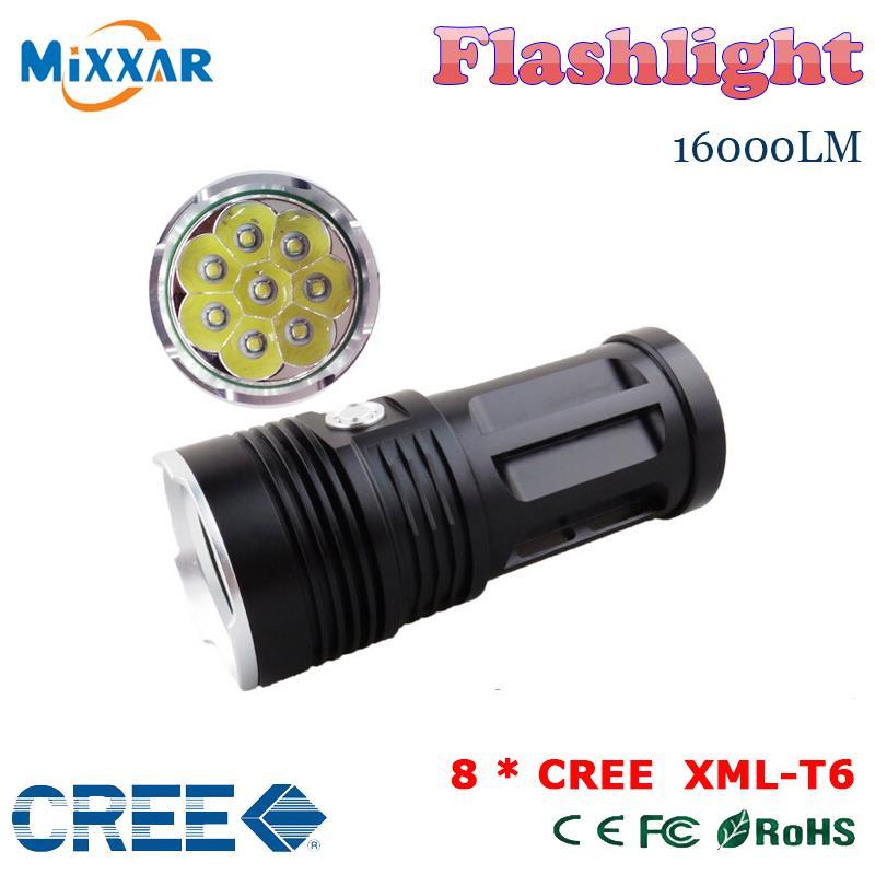 zk50 led flashlight MI-8 16000 lumen Camp Hunting Torch 8x Cree XM-L T6 tactical Lantern suitable 4x18650 battery<br><br>Aliexpress