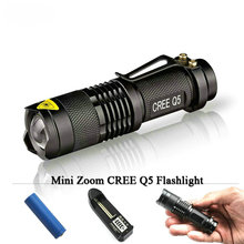 Buy Mini Flashlight Torch Zoom Led CREE XM-L Q5 2000 Lumens Searchlight Lights Flash Light Lanternas 14500 battery charger OR AA for $3.78 in AliExpress store