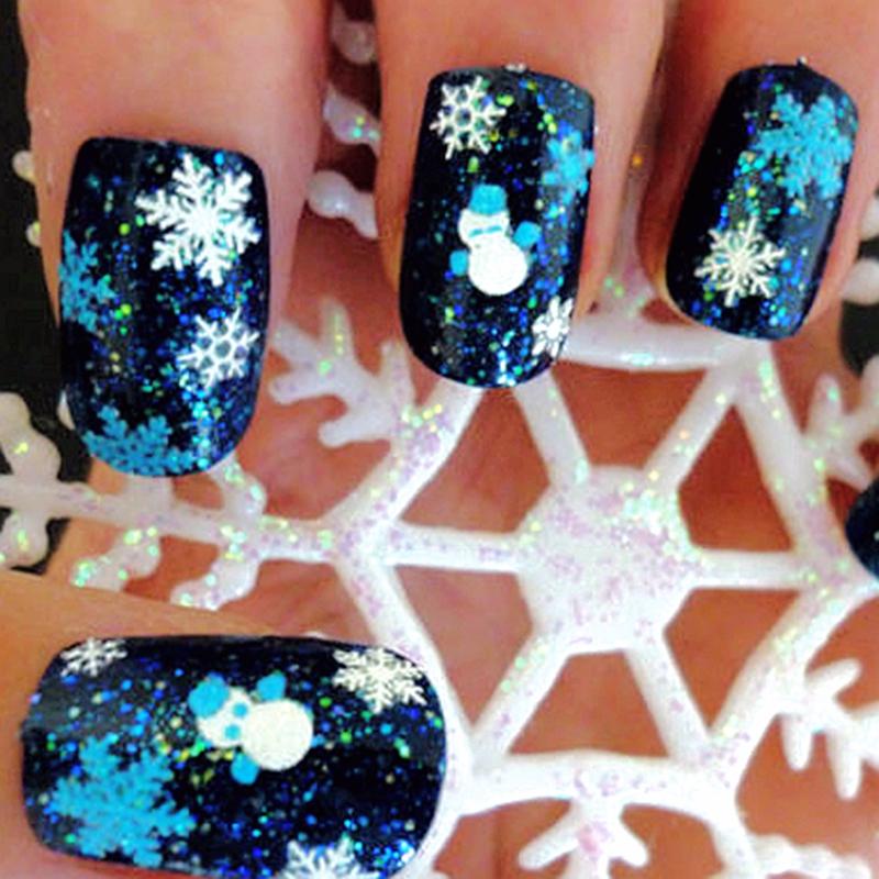 5 Sheets Christmas White Glitter Snowflake Tree Stars 3D Nail Art Sticker Xmas DIY Decal Nail Decoration Tools(China (Mainland))