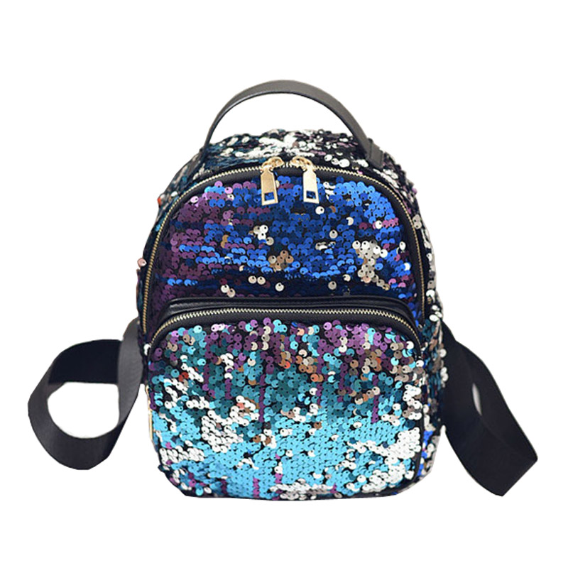 Fashion Small Glitter Backpack Women Silver Sequin Daypack