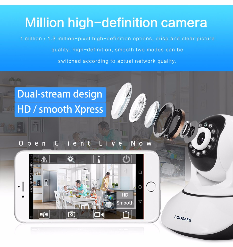 LOOSAFE HD 720P Wireless IP Camera WIFI Onvif Video Surveillance Alarm Systems Security Network Home IP Camera Night Vision