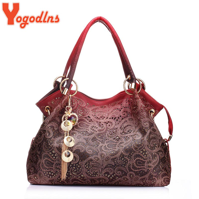 Hot brand women bag hollow out ombre handbag floral print shoudler bags ladies pu leather tote bag red/gray/blue(China (Mainland))
