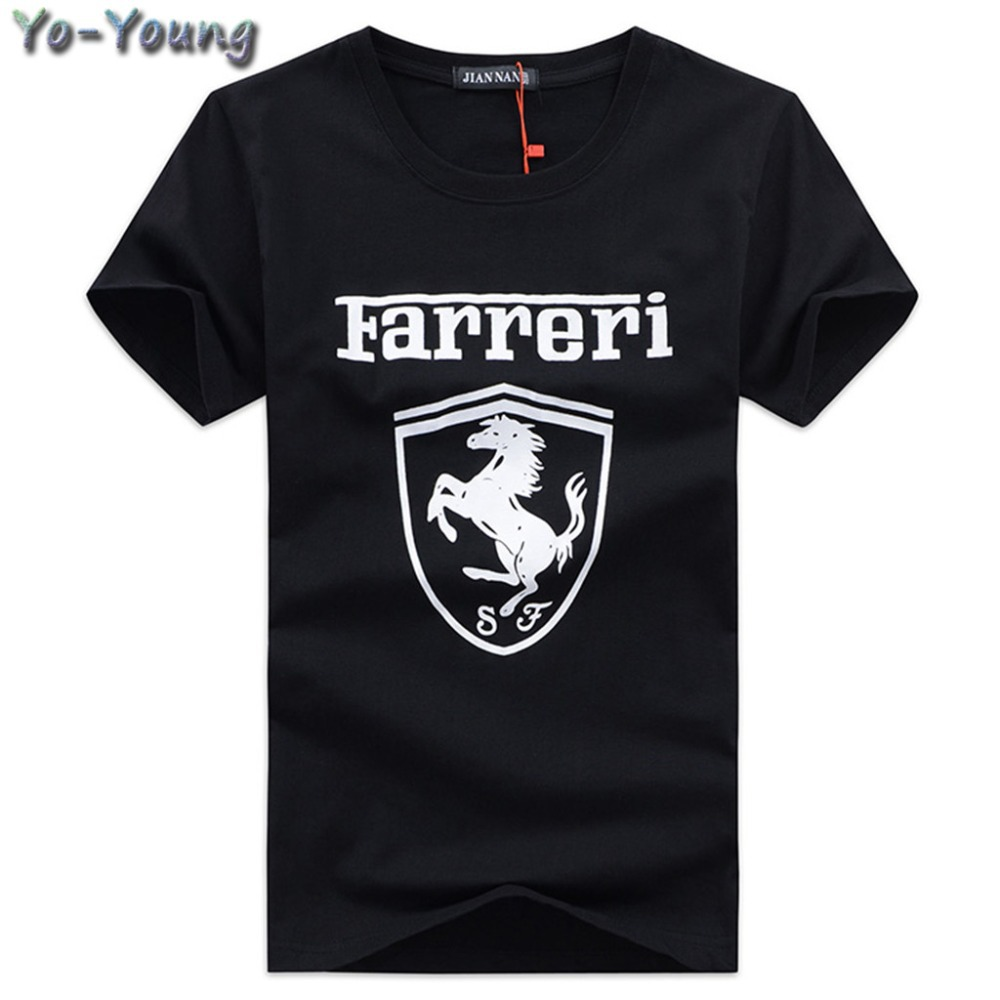 Yo-Young Summer Men T Shirts Fashion Farreri Printed Cotton Casual T-shirts For Men Top Tees Short Sleeve Plus Size Top Quality(China (Mainland))