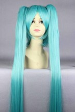 "Top Wig 2015 Queen Hair 130cm 51"" Miku Cos Split Wig Hatsune Miku + 2 Clip On Ponytail Cosplay Hot Selling Heat Resistent Wigs(China (Mainland))"