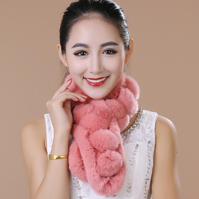 2015 rabbit fur scarf female ball rex rabbit hair muffler scarf fur scarf(China (Mainland))