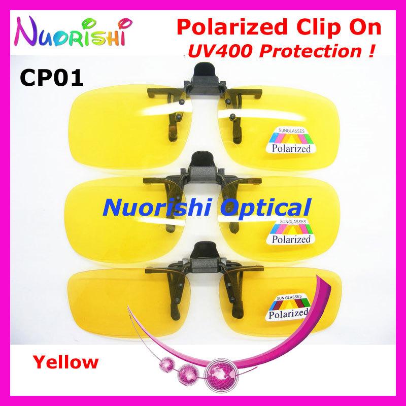 20pcs CP01 Night Polarized Clip On Sunglasses TAC Lens with UV400 Clip On Lens Yellow Polarized Glasses Free Shipping(China (Mainland))