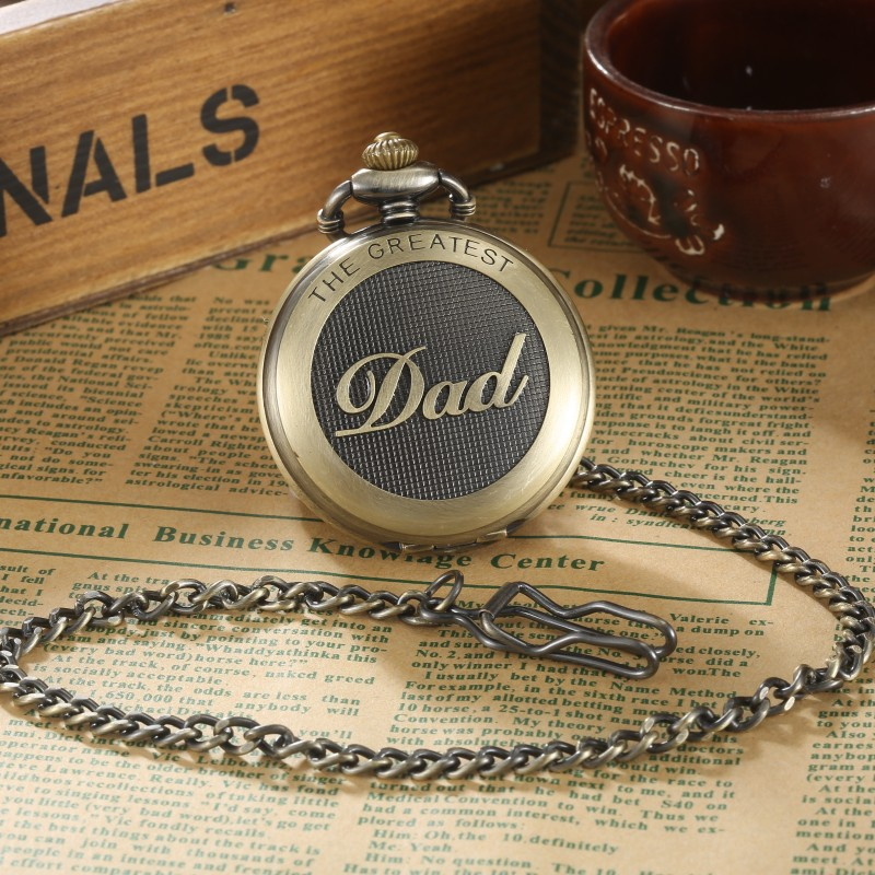 GORBEN Brand THE GREATEST Dad pocket watch Necklace Japan movt Antique bronze Vintage FOB Chain Pendent for mens Father's Day(China (Mainland))