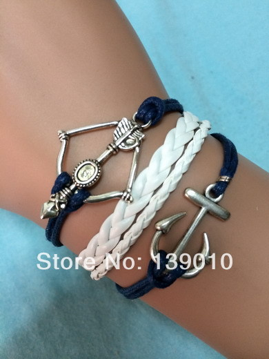 Free Shipping!6PCS/LOT!Silver Alloy Braided Leather Rope Arrow Cuff Bracelet Fashion Native American Anchor Men Jewelry C-011(China (Mainland))