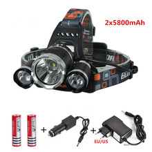 3x CREE XML U2 LED 6000 Lm Headlight Headlamp Head Lamp Light Flashlight 18650+2*battery+AC/Car charger