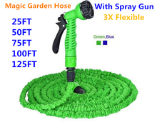Free shipping Magic flexible Expandable Garden Hose reels +spray Gun Garden Water Hose Car watering connector Blue & Green 100FT(China (Mainland))