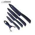 High Quality New Brand Modern Family Kitchenware Knife set Black Blade Ceramic Knife 5 Pieces With