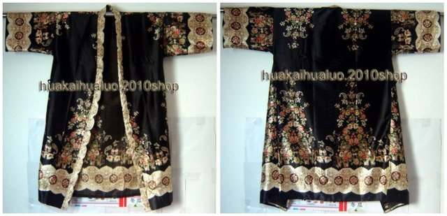Бесплатная доставка! Черный мода дамская кимоно банный халат платье юката ванна ручной ...