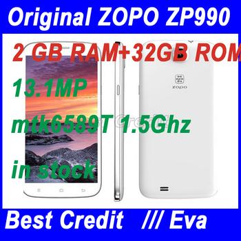 "in stock original Zopo Zp990 Mtk6589t quad core 1.5GHz cell phone 2GB/32GB 1GB/32GB android 4.2 13Mp  6.0"" 1080P phone /Eva"