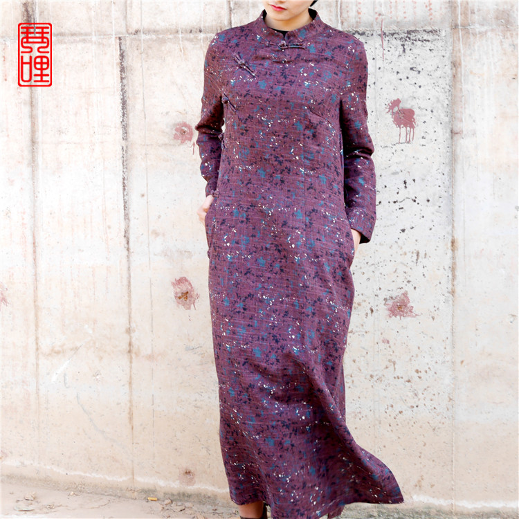 In the spring of 2016 new products on the market, high-end design loose big yards flax frocks(China (Mainland))