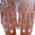 2016 New 6 pcs set Turkish vintage beach punk moon arrow ring set antique silver carved