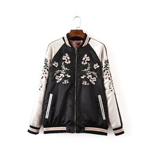 2016 new spring autumn European and American both sides flowers embroidered stand collar black pink bomber jacket IP098