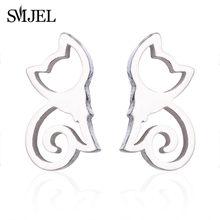 SMJEL Fashion minimalistyczna biżuteria zestaw kobiet ze stali nierdzewnej złoty Sliver kolor koty stadniny kolczyki naszyjniki Earing dla dziewczynek(China)