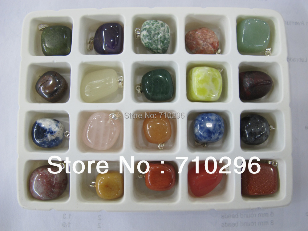Natural gem stone pendants wholesale lot mixed agate sodalite rose quartz crystal Multi gem fit genuine stone necklace(China (Mainland))